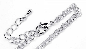 Luxury Rhodium Finished Textured Link Necklace Chain (18