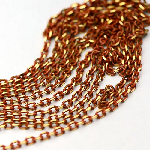 Colored Brass Warm Coral Enameled Filed Cable Chain sold by the foot