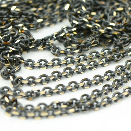 Colored Brass Gray Filed Cable Chain sold by the foot