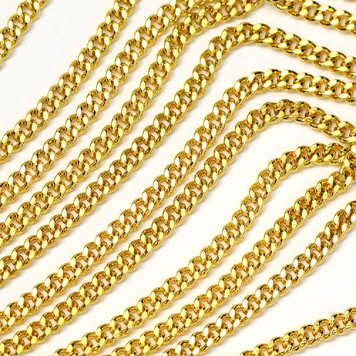 Luxury Gold Plate Filed Curb Chain sold by the Foot