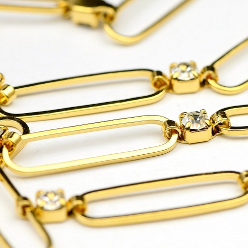 Luxury Gold Rhinestone Link Chain by the Foot