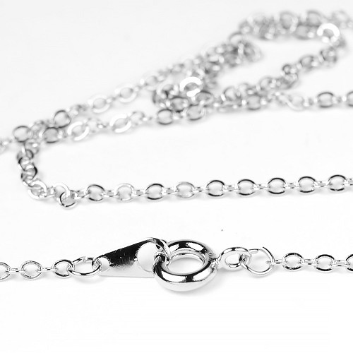 1mm Flat Cable Finished Necklace Chain plated with Pure Rhodium