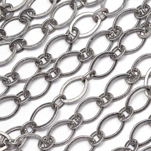 Antique Silver-Plated 6x9mm Smooth Flat 1-and-1 Chain sold by the foot