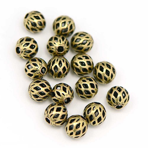 Premium Plated Antique Brass Ox 6MM Lattice Bead (25/Pkg)