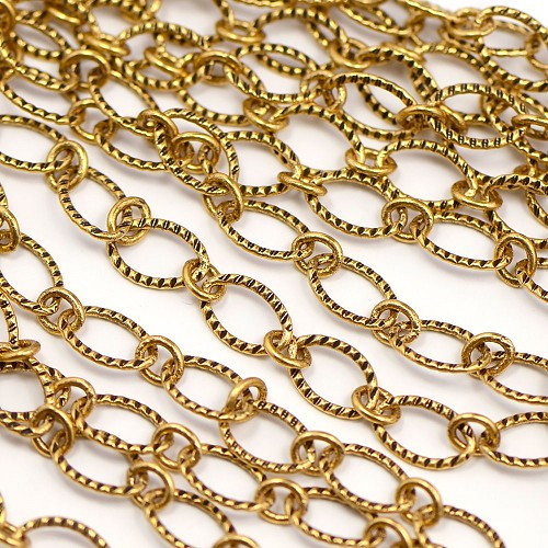 Luxury Golden Ox Plated 6x9mm Textured Flat Oval 1-to-1 Cable Chain Sold by the foot
