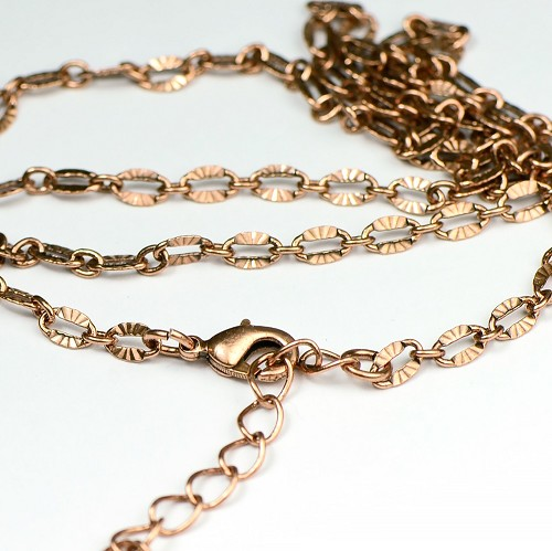 Antique Copper Finished Sunburst Link Necklace Chain  (18