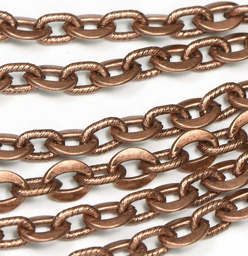 Vintage Antique Copper Flat and Spiral Link Art Chain