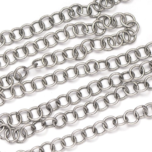 Antique Silver Handmade Round Chain Sold by the Foot