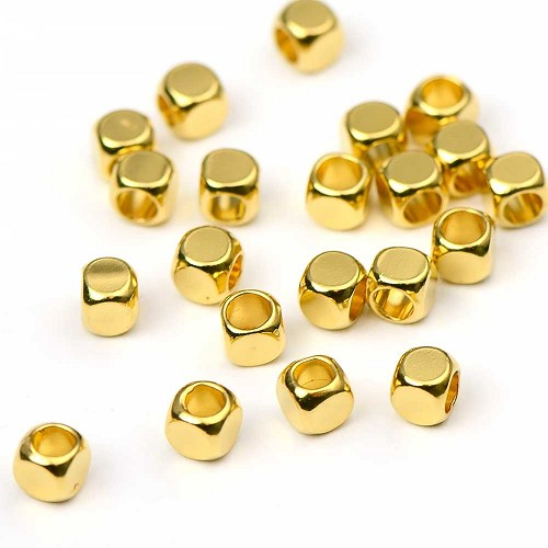 Luxury Gold Plated Cube Bead (25/pkg)